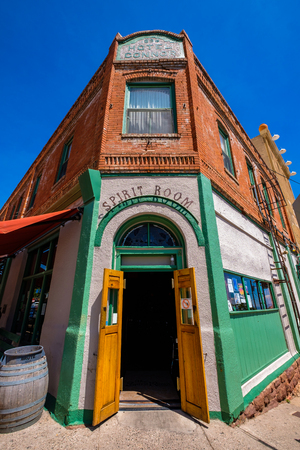 Jerome, Arizona USA - April 27, 2017: The historic Hotel Connor is a popular tourist destination in this trendy small mountain town overlooking the Verde Valley.