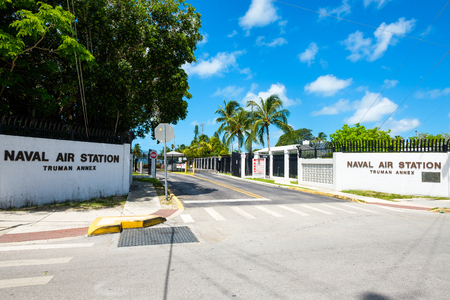 Key West, Florida USA - June 24, 2017: Street entrance to the Truman Annex Naval Air Station located in Key West.