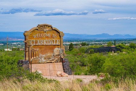 Clarkdale, Arizona USA - April 27, 2017: Welcome sign to this small town at the foot of Jerome in the Verde Valley in Yavapai County. Sajtókép