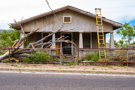 Jerome, Arizona USA - April 27, 2017: Typical vintage mountain home under renovation  in the popular town of Jerome in the Verde Valley.
