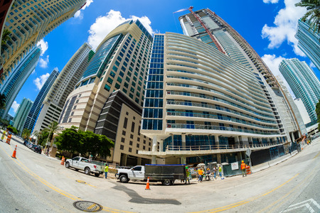 Miami, Florida - August 8, 2017: Fish eye view of a construction project underway in the popular Brickell area in downtown Miami.