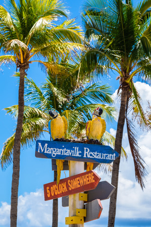 Hollywood Beach, Florida - July 6, 2017: Cityscape view of the colorful signs for the Margaritaville Resort, a popular tourist destination in Broward County. Editorial
