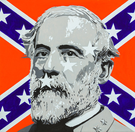 Oil on canvas modern art painting of the iconic Robert E. Lee with a confederate flag in the background. Editorial