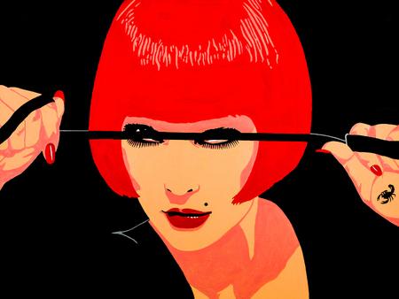 아름 다운 섹시 한 dominatrix의 현대 미술 초상화입니다.