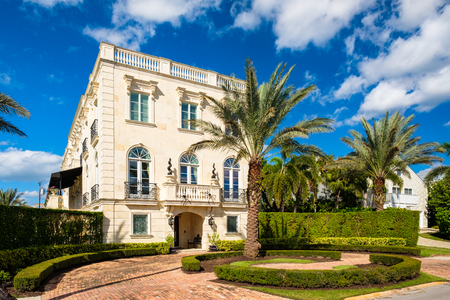 Naples, Florida - November 1, 2017: Classic mediterranean architecture style home in the historic coastal gulf residential district of Old Naples.