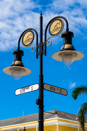 fifth avenue: Scenic fifth avenue cityscape in the popular downtown district in Naples, Florida. Stock Photo