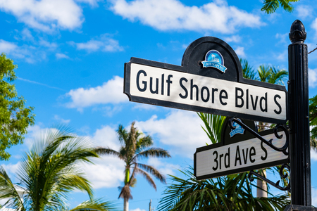 Scenic Gulf Shores Boulevard signage in the historic residential district in Naples, Florida.