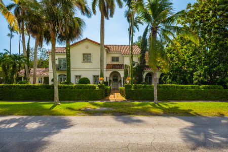 Coral Gables, Florida - November 6, 2017: Classic mediterranean architecture style home in the historic City of Coral Gables located in Miami.