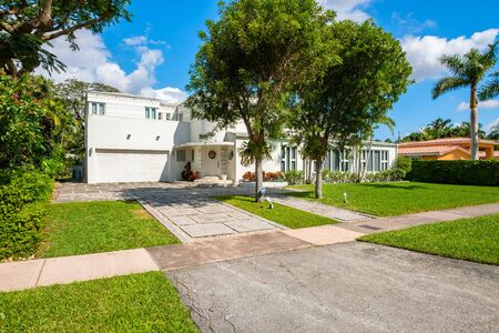 Coral Gables, Florida - November 6, 2017: Classic art deco architecture style home in the historic City of Coral Gables located in Miami. Editorial