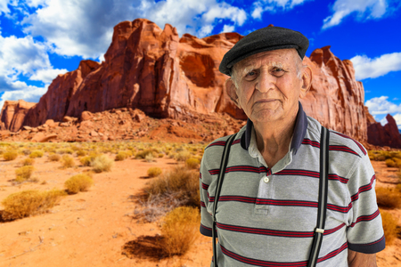 Elderly 80 plus year old man outdoor portrait with a beautiful Utah desert background.