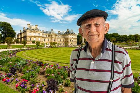 Elderly 80 plus year old man outdoor portrait in beautiful Paris. Stock Photo