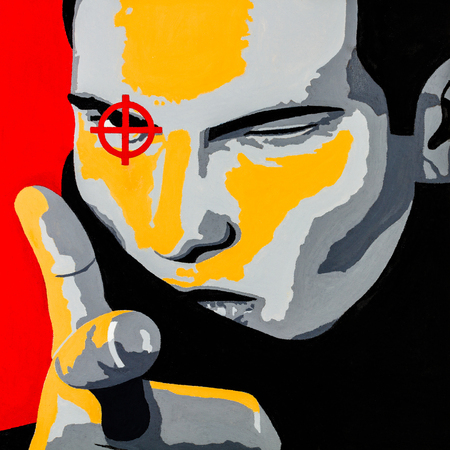 Modern conceptual art oil on canvas painting of a young man making a pistol pointing gesture with his hand. Banco de Imagens