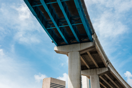 Skyward view of Interstate 95 highway running along downtown Miami.