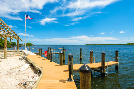 Scenic view of the popular Florida Keys along a small dock.