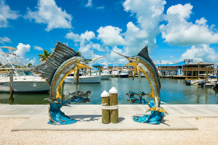 Islamorada, Florida USA - September 18, 2018: The Whale Harbor Marina is a popular tourist destination for the rental of yachts for fishing excursions in the beautiful Florida Keys.