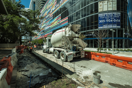 Miami, Florida USA - October 1, 2018: Road construction project underway in the popular Brickell area in downtown Miami.