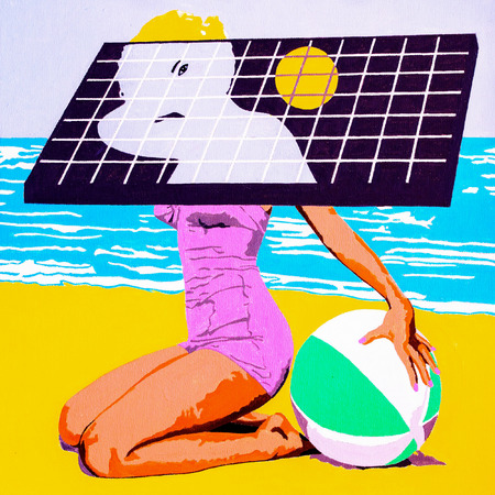 Modern art conceptual portrait painting of a beautiful young woman at the beach with a solar panel.