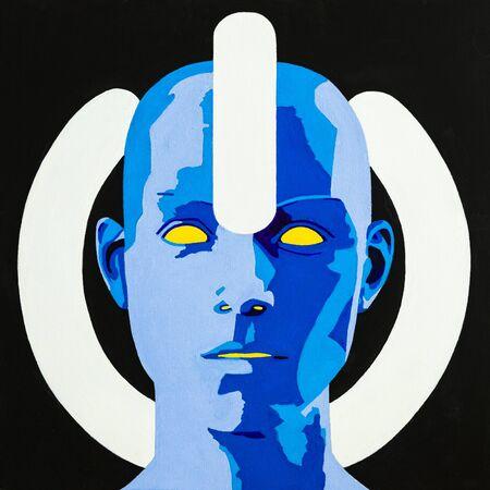 Peinture conceptuelle d'art moderne d'une source d'énergie dans le cyberespace. Banque d'images