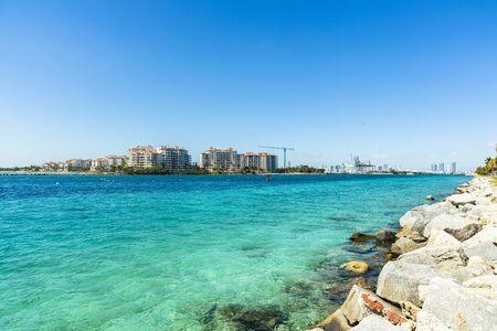Beautiful Miami Beach seascape along South Pointe Park Pier.