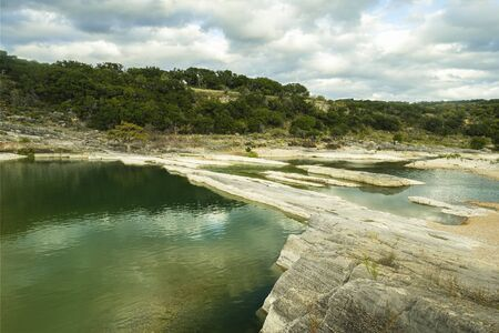 Natural beauty along the Pedernales River in the Texas Hill Country. Stock Photo