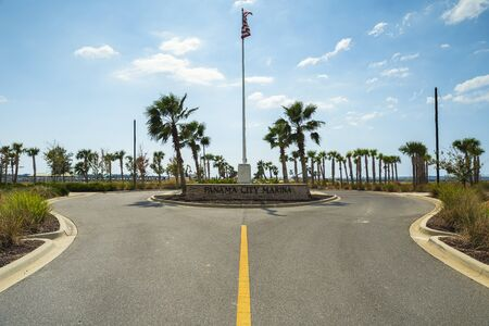 Panama City, Florida USA - September 28, 2019: Entrance to the city marina that is still closed due to the effects of Hurricane Michael on October 10, 2018. Editorial