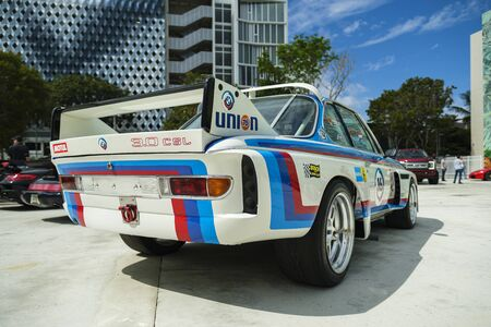 Miami, Florida USA - February 16, 2020: Vintage BMW race car on display at the public Miami Concours car show in the upscale Design District.