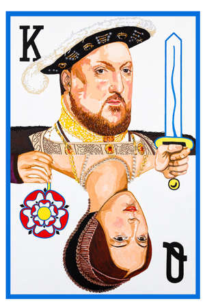 Modern conceptual art portrait painting of Henry VIII and Anne Boleyn as a playing card.