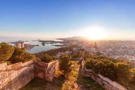 Malaga skyline with sunrise