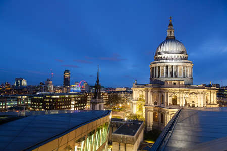 Saint Paul Cathedral Dome at night Editorial