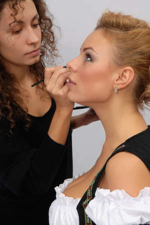 makeup artist make-up girl models Stock Photo
