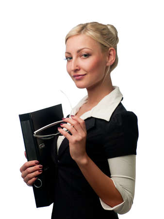 female manager with glasses and a folder for documents