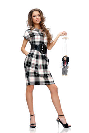woman and a puppet, an isolated background Stock Photo - 9756457