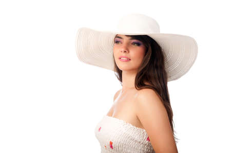 woman in a white hat on the isolated background Stock Photo