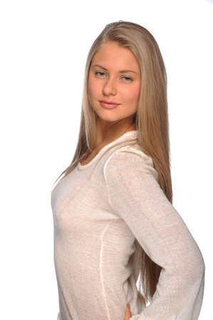 portrait of blonde with long hair on an isolated background photo