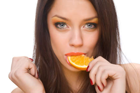 beautiful girl with bright makeup and orange