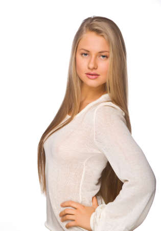 beautiful blonde with long hair on an isolated background photo