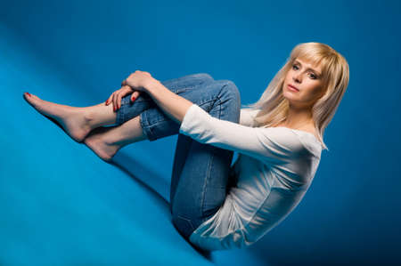 Beautiful girl in blue jeans Stock Photo - 12887226