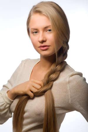 Portrait of beautiful female model on white background Stock Photo - 13210802