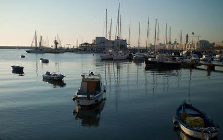 Coast of Italy  Port with a group of sport yachts and waterfront homes and trees photo