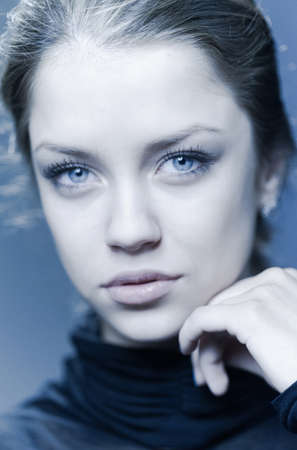 one teenage girl only: beautiful girl with big blue eyes