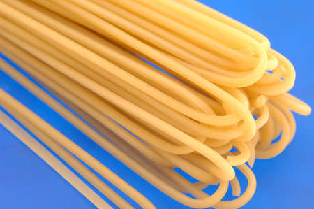 Pasta closeup on blue background photo