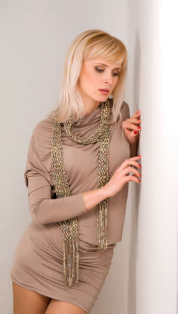 woman near a white wall Stock Photo - 13647023