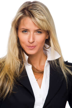 Beautiful blonde girl on a light background photo