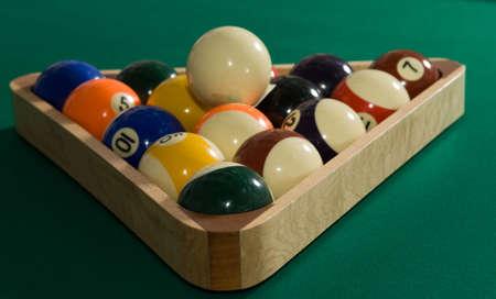 billiards hall: billiard balls on a green table cloth Stock Photo