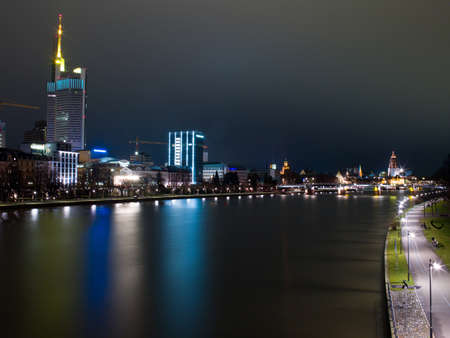 embankment and skyscrapers at night in Germany photo