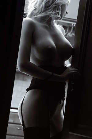 cuerpos desnudos: Chica desnuda posando en el interior plana