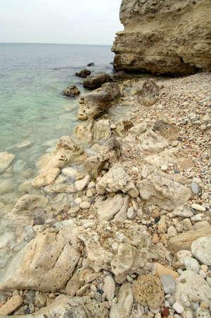 Seascape stone shore of the Black Sea photo