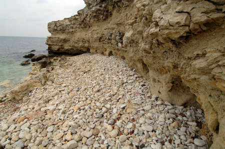 Seascape stone shore of the Black Sea