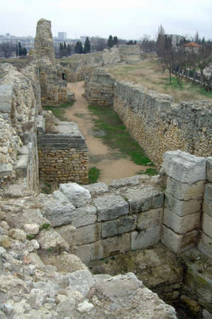 view of the territory of Chersonesos ruins of the old town Stock Photo