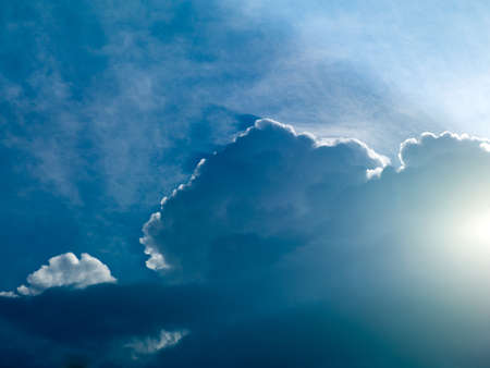 landscape of blue sky the sun shines through the white cloud Stock Photo - 17610366